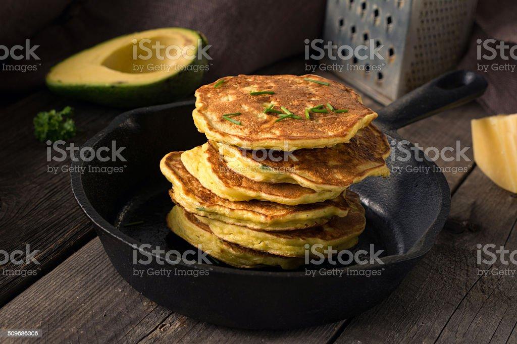 Healthy savory vegetable pancakes stock photo