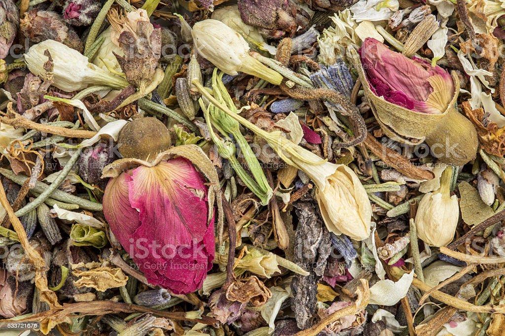 Healthy skin herbal tea macro background stock photo