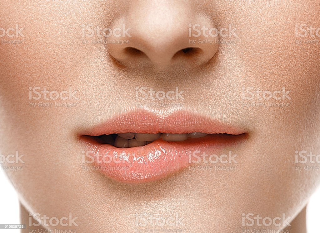 Healthy Smile. Woman Smile Closeup. Beautiful Lips Healthy skin concept stock photo