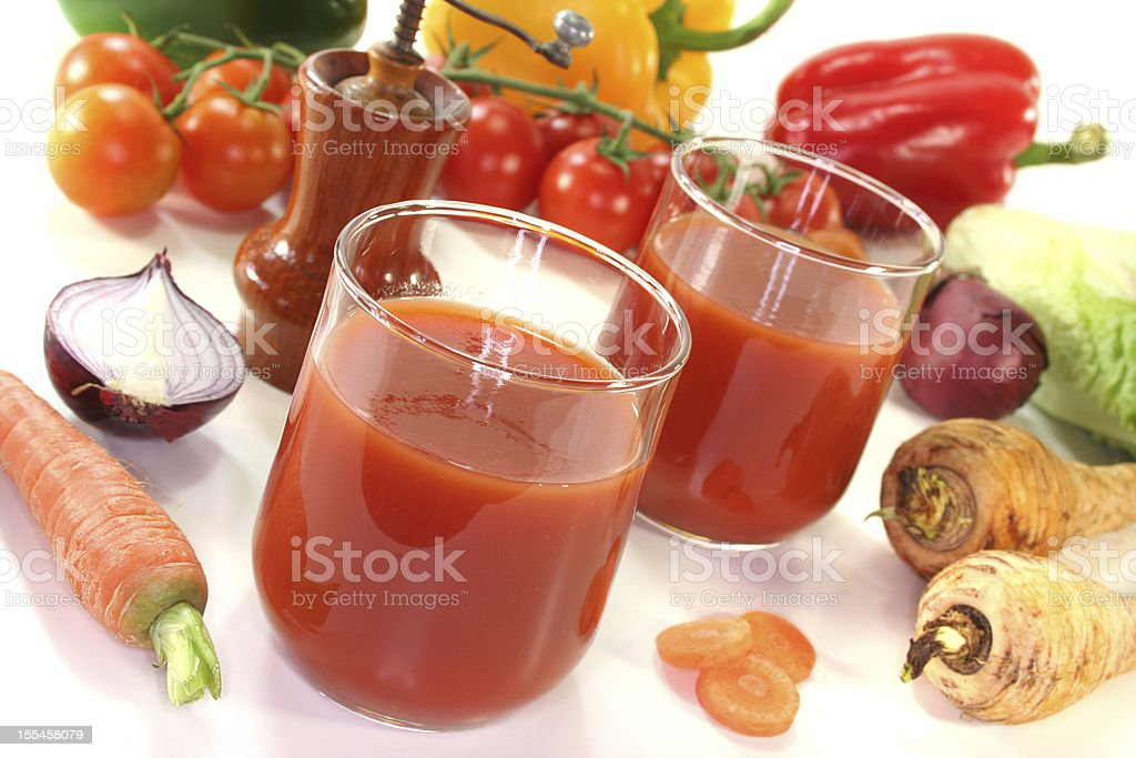 Healthy smoothie made with assorted root vegetables stock photo
