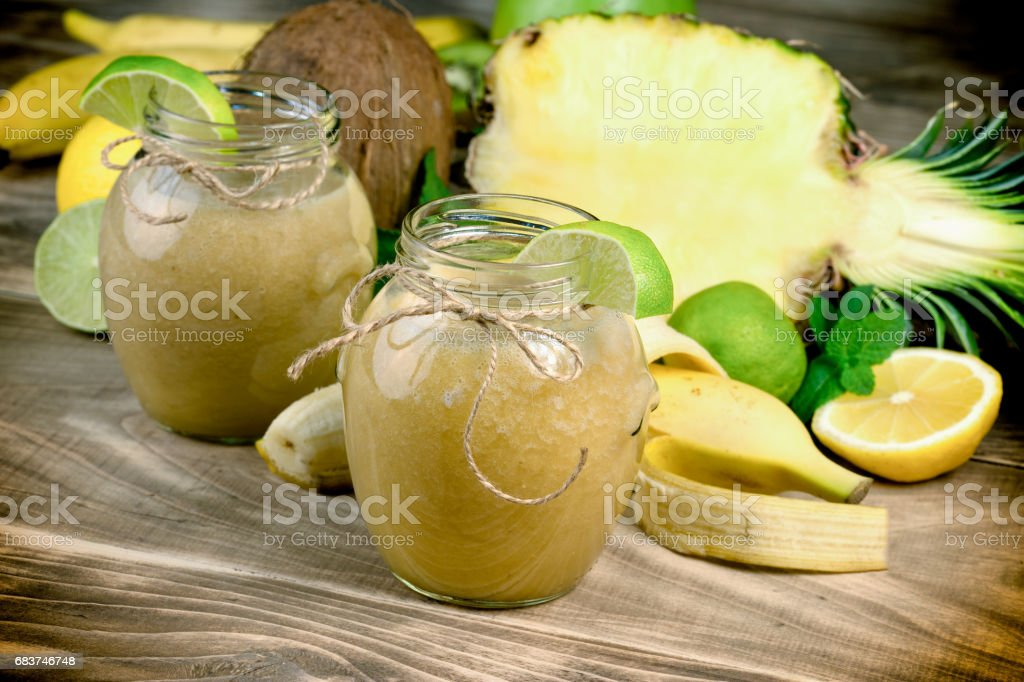 Healthy smoothie made with exotic fruit - tropical fruit stock photo