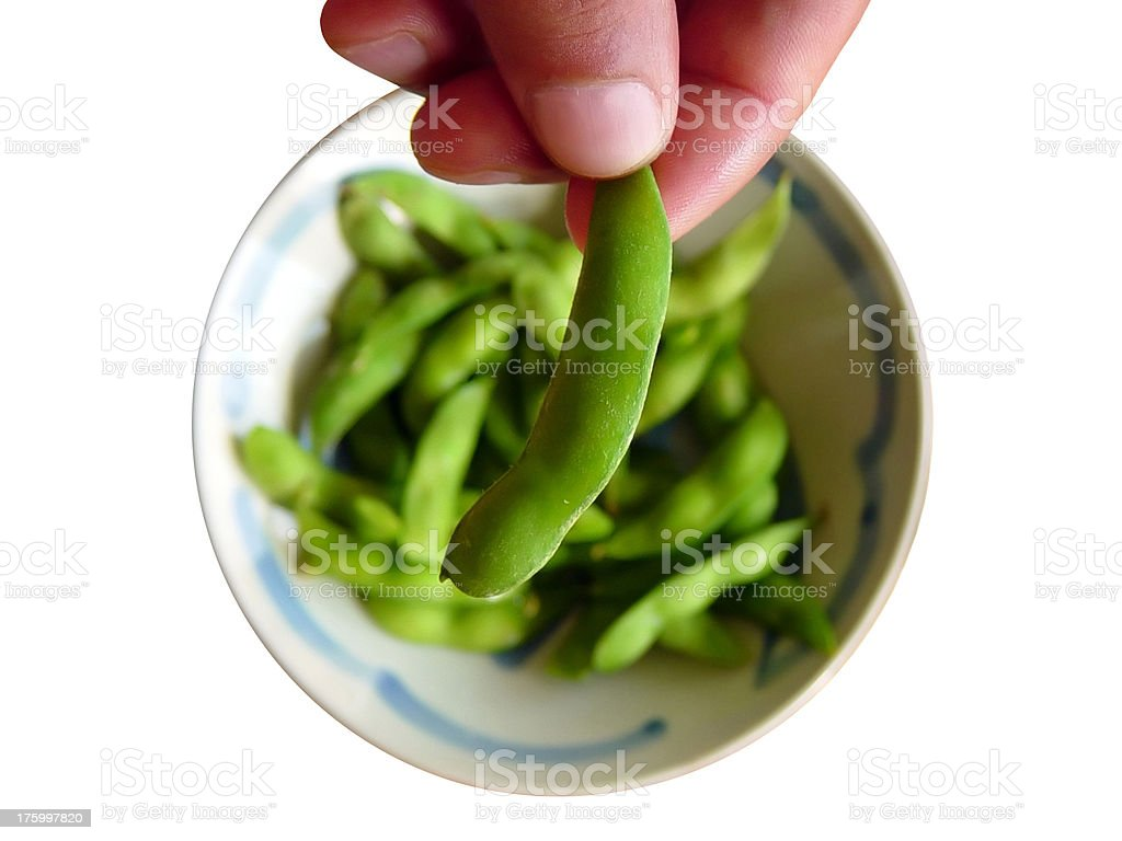 Healthy Snack - Bowl of Edamame royalty-free stock photo