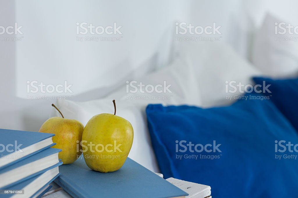 Healthy snack near the bed stock photo
