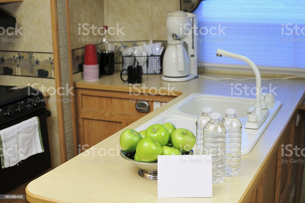 Healthy snack on RV kitchen counter with copy space royalty-free stock photo
