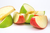 Healthy snack option of green and red sliced apples