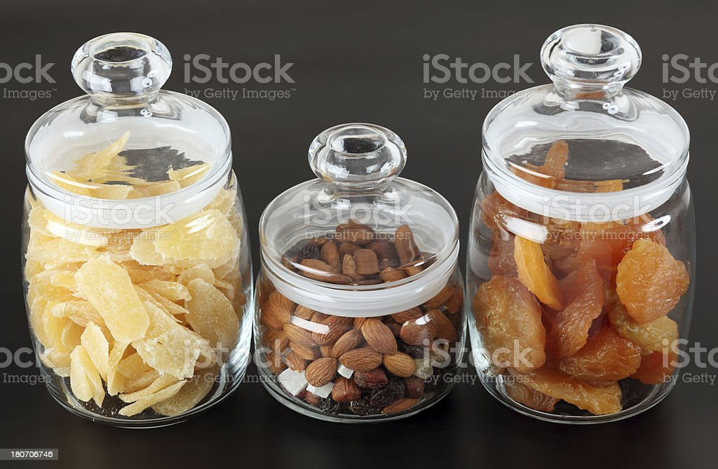 Healthy Snacks in glass jars royalty-free stock photo