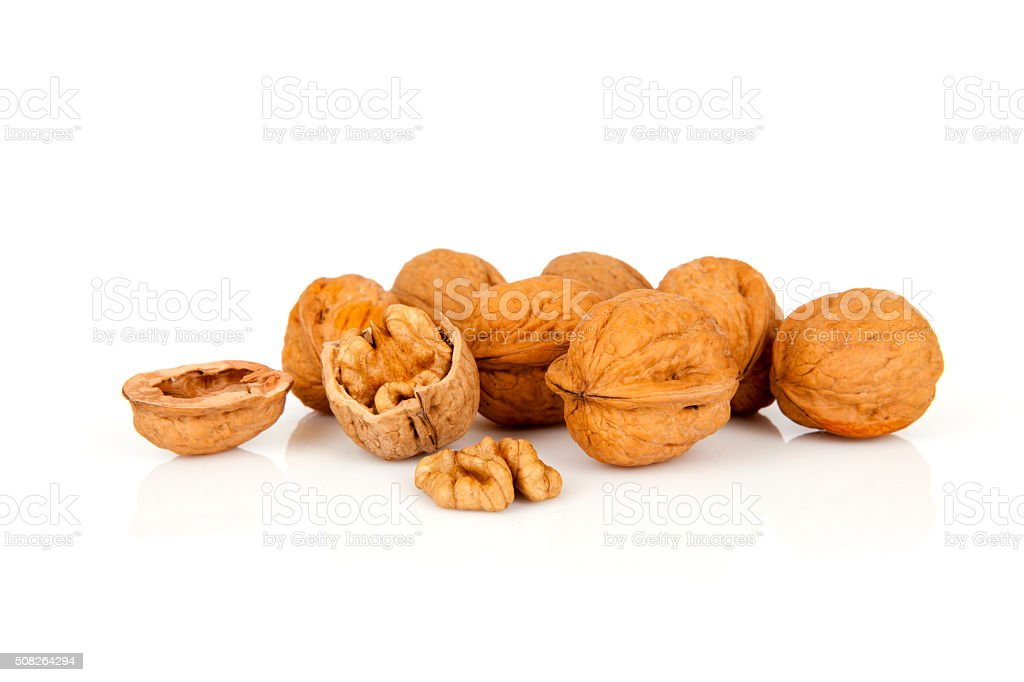 Healthy snakcs nuts - walnuts isolated on the white background stock photo