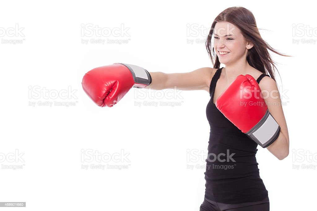 Healthy sporty boxer girl in white background. stock photo