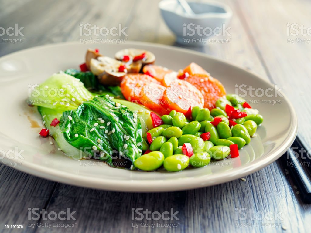 Healthy steamed vegetable stock photo