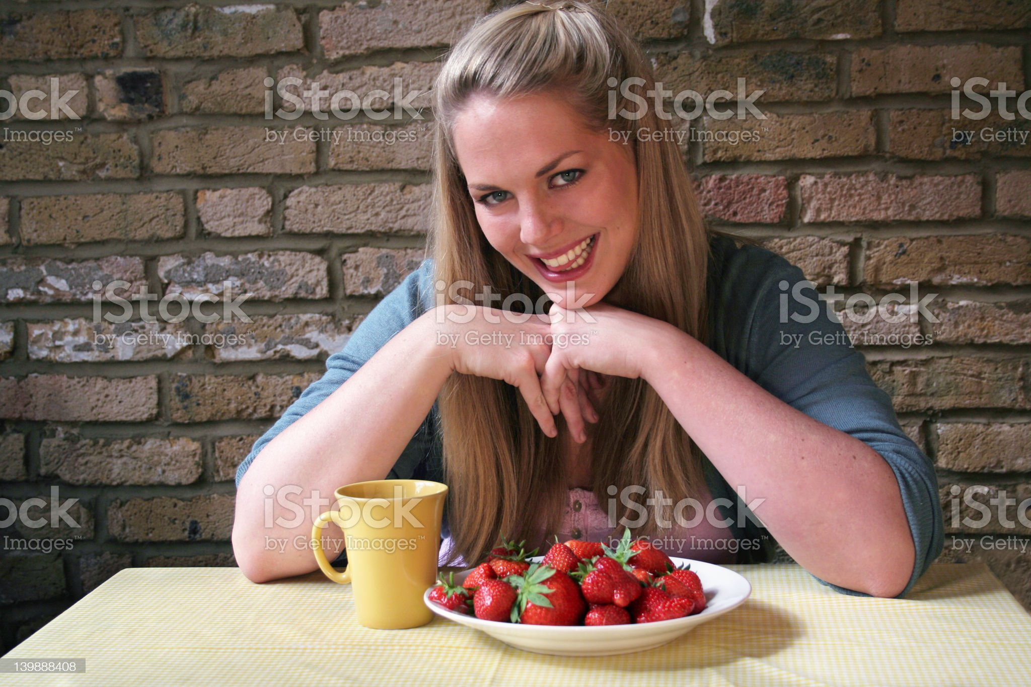 Healthy Strawberry Girl - Blond royalty-free stock photo