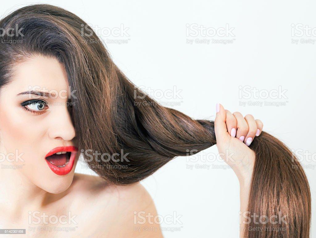 Healthy strong long hair stock photo