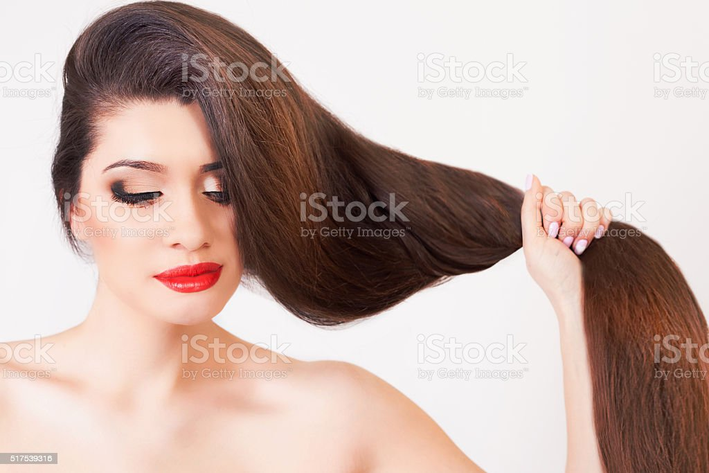 Healthy strong long hair stock photo