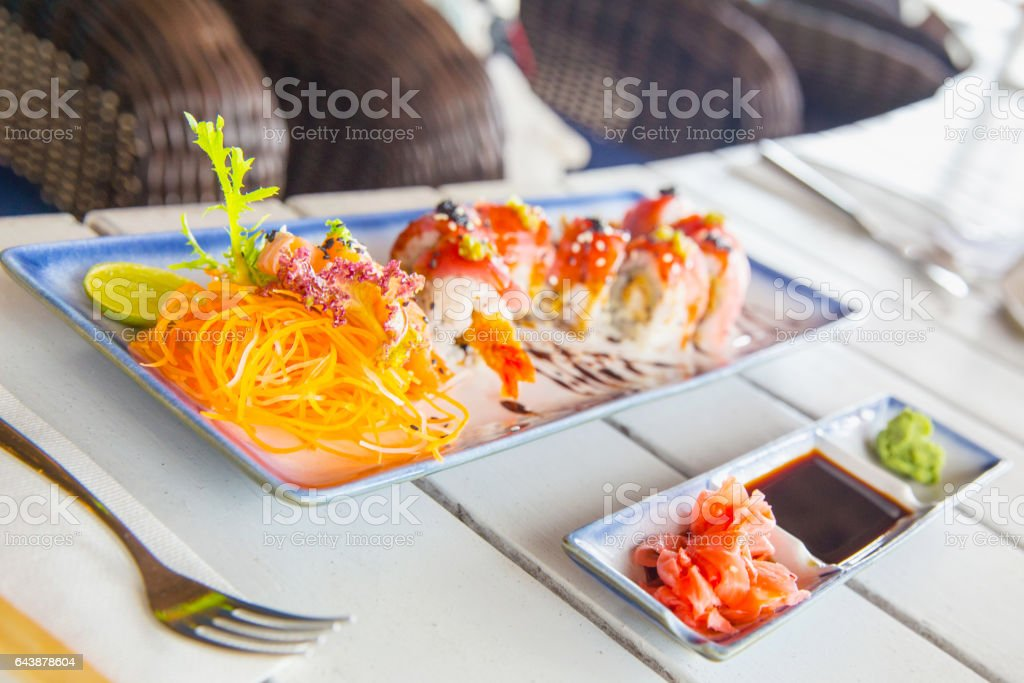 Healthy sushi with fresh salad stock photo