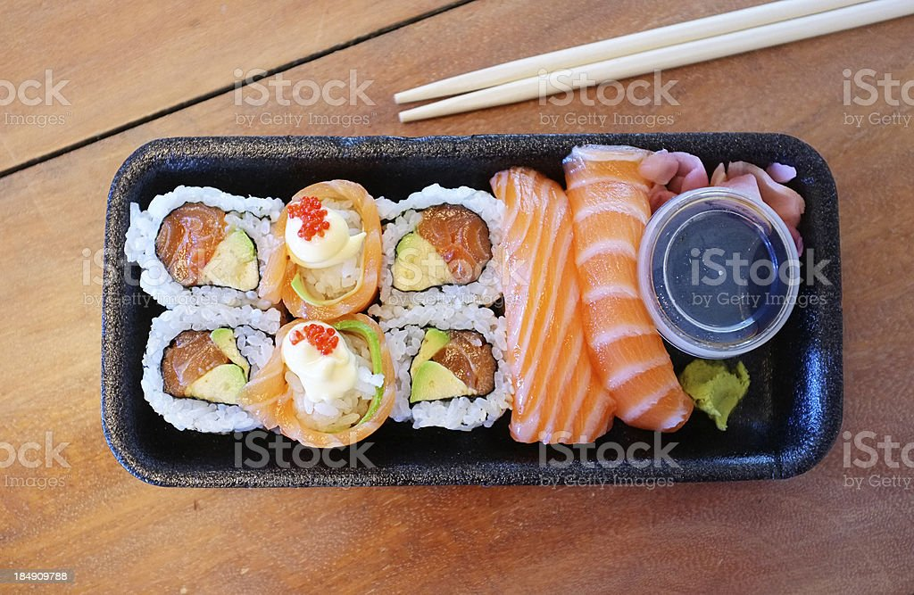 Healthy take out of salmon sushi selection royalty-free stock photo