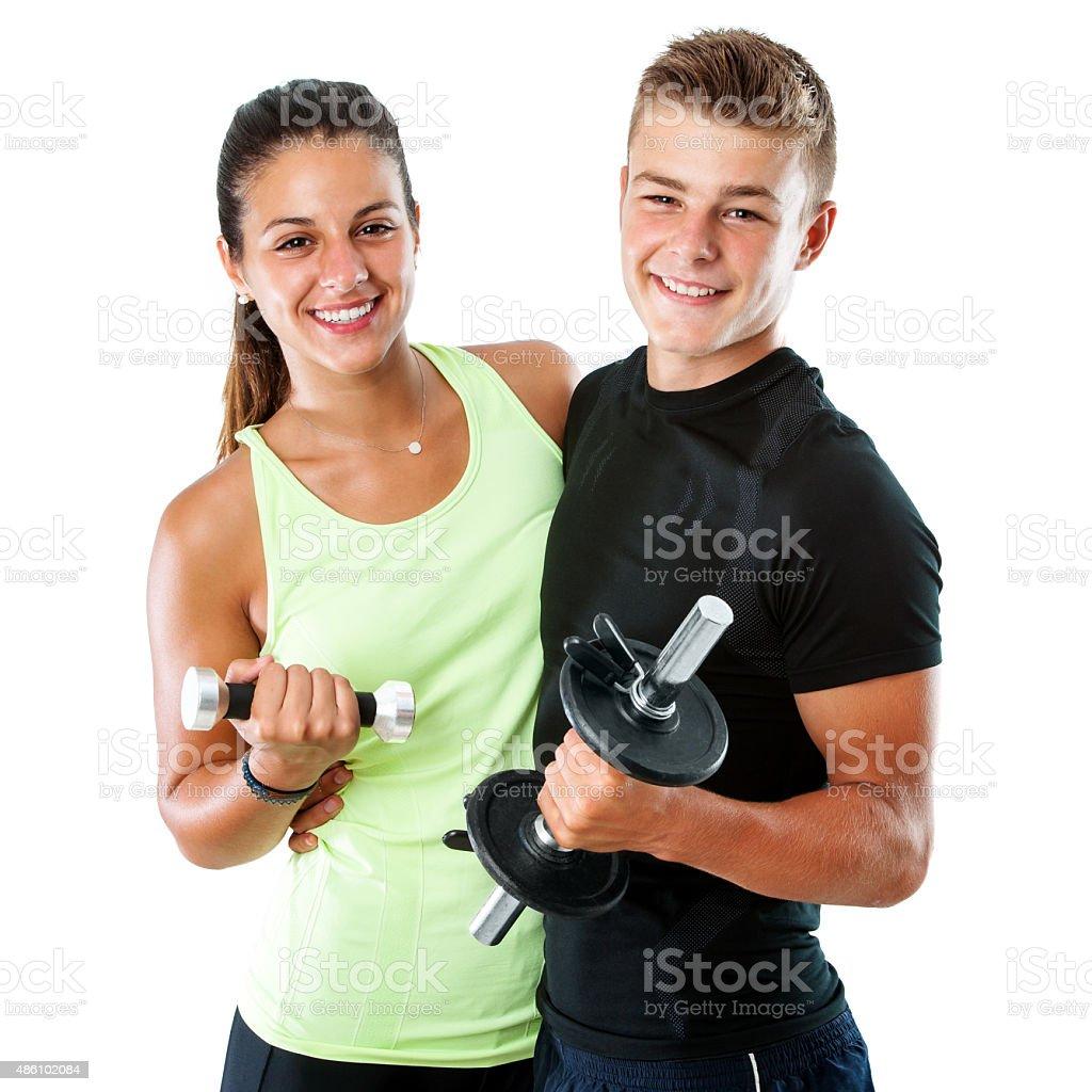teen couple avec des poids et haltères. photo libre de droits