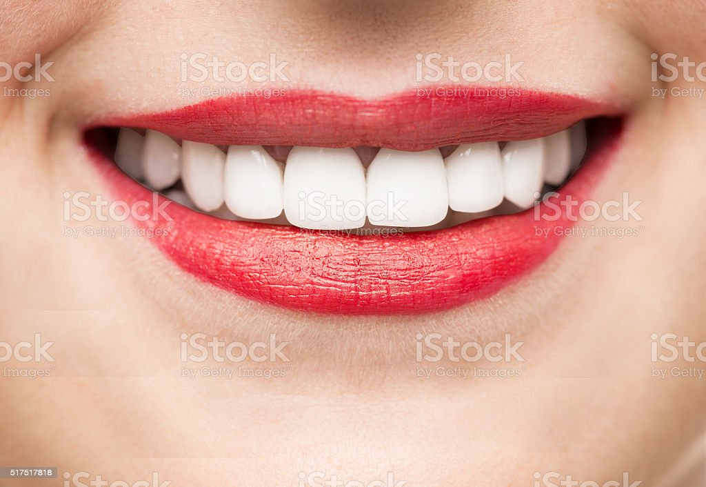 Healthy teeth and happy smile stock photo