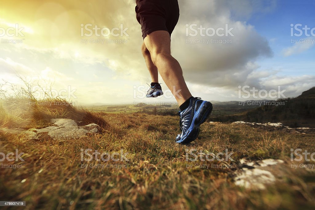 Healthy trail run stock photo