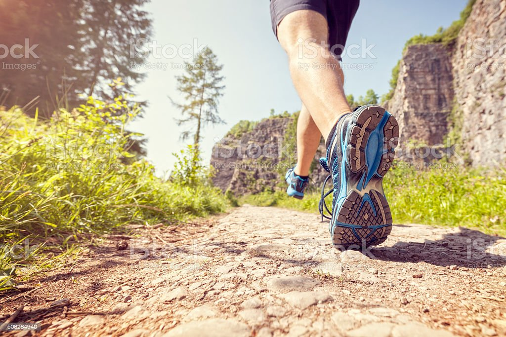 Healthy trail run stock photo