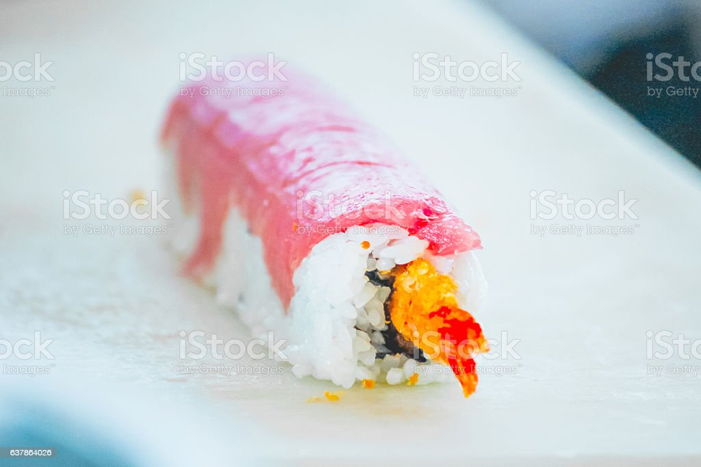 Healthy tuna maki sushi stock photo