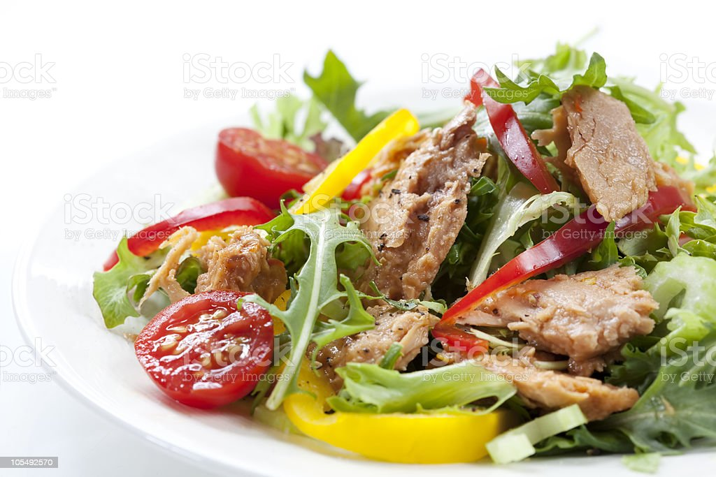 Healthy tuna salad with variety of vegetables stock photo