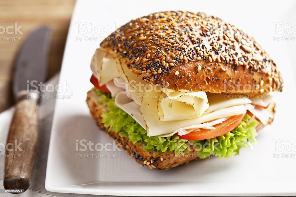 healthy turkey cheese and salad sandwich stock photo