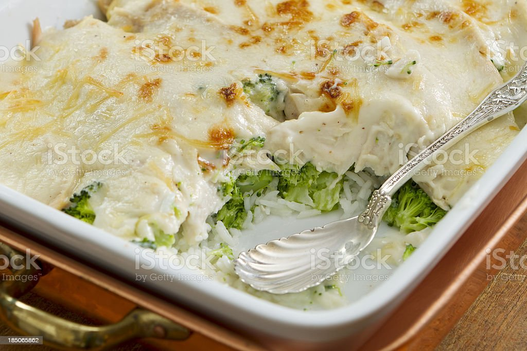 Healthy Turkey Divan with Broccoli and Rice stock photo