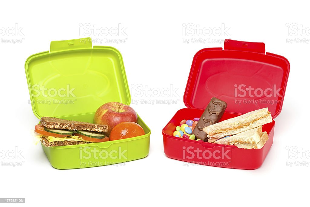 Healthy & Unhealthy Lunch Box, Isolated on White stock photo