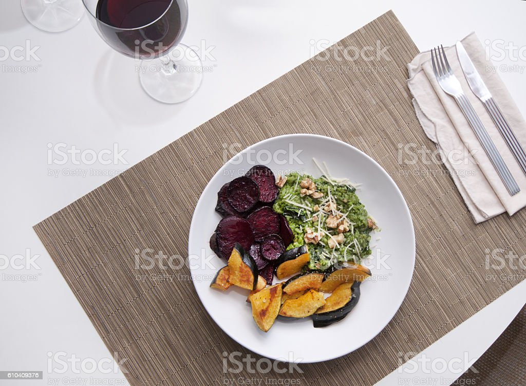 Healthy vegan dinner stock photo
