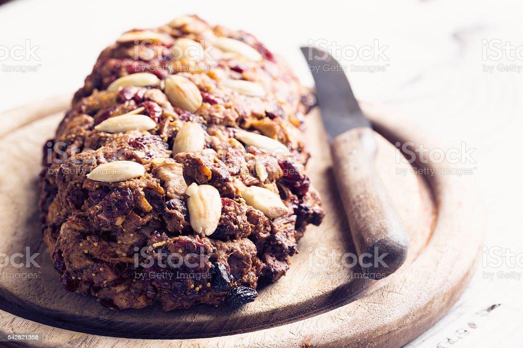 healthy vegan fruit bread stock photo