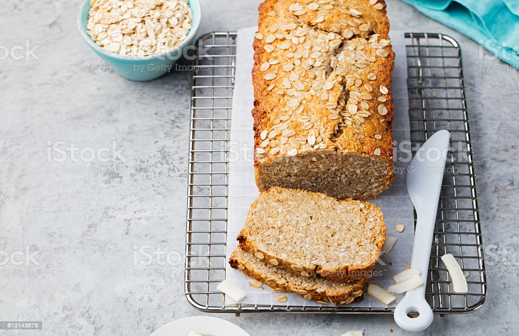 Healthy vegan oat and coconut loaf bread, cake stock photo
