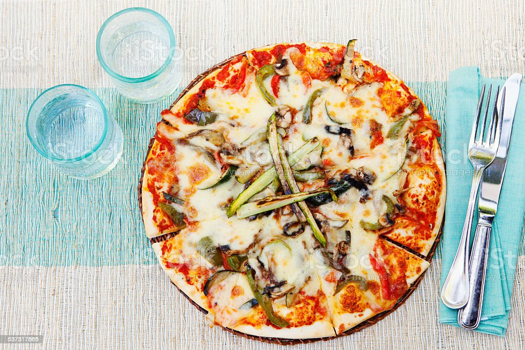 Healthy vegetables and mushrooms vegetarian pizza stock photo