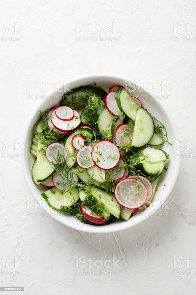 healthy vegetables salad in bowl stock photo