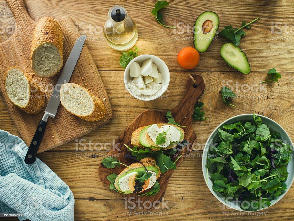 Healthy Vegetarian Bruschetta stock photo