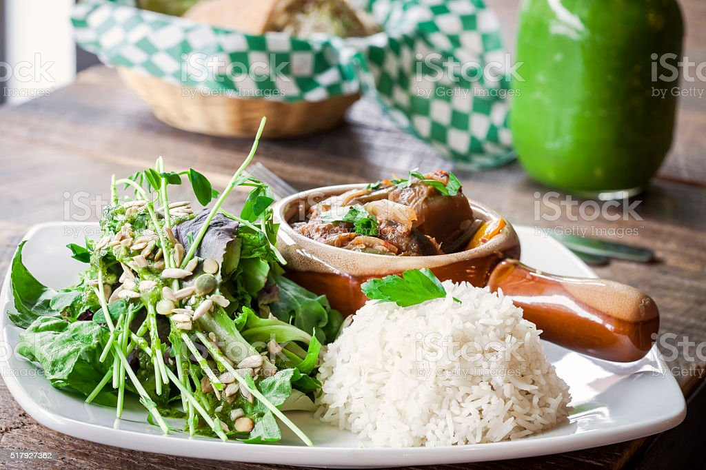 Healthy Vegetarian dish of salad and vegetable stew. stock photo