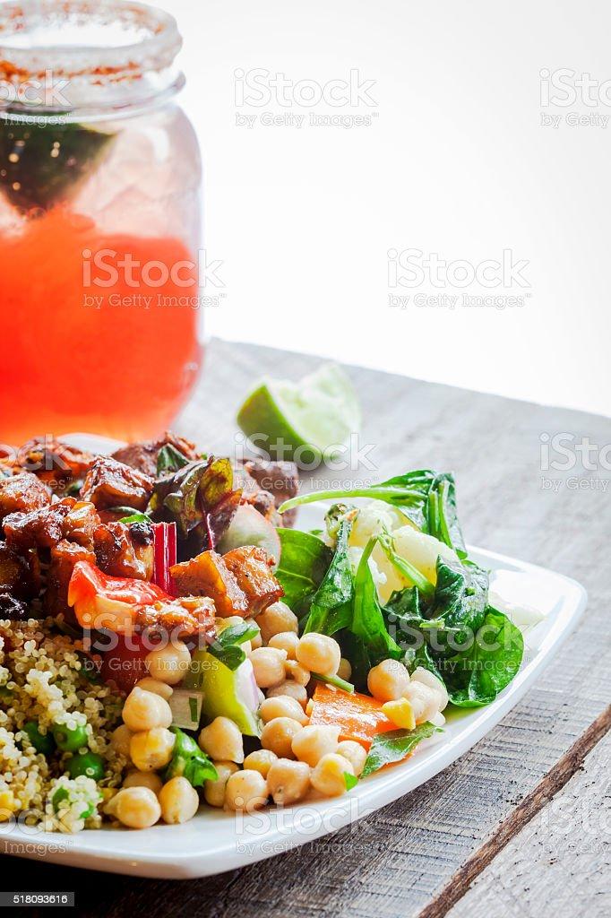 Healthy Vegetarian dish of Salads and vegan Cocktail stock photo