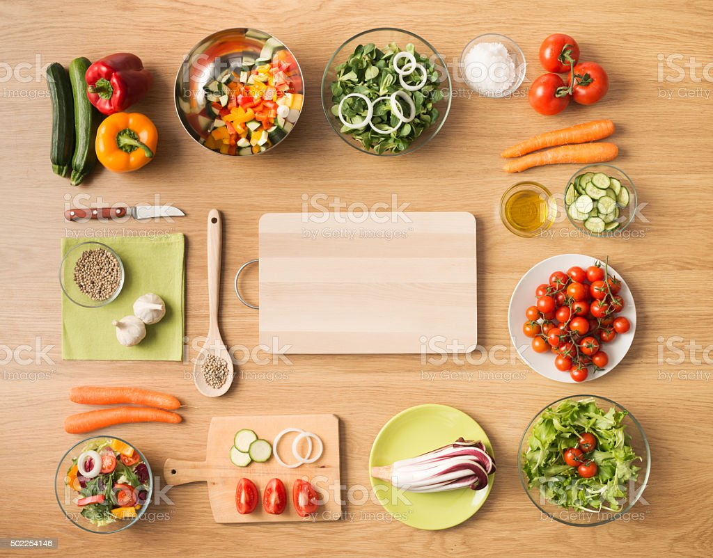 Healthy vegetarian home made food stock photo