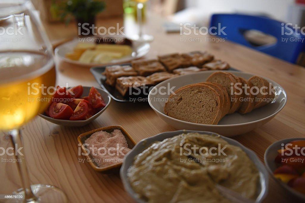 Healthy vegetarian meal set stock photo