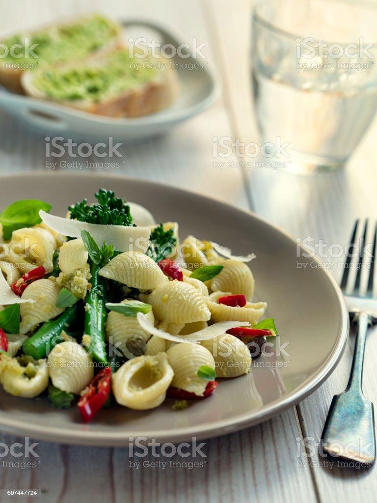 Healthy vegetarian pasta dish stock photo