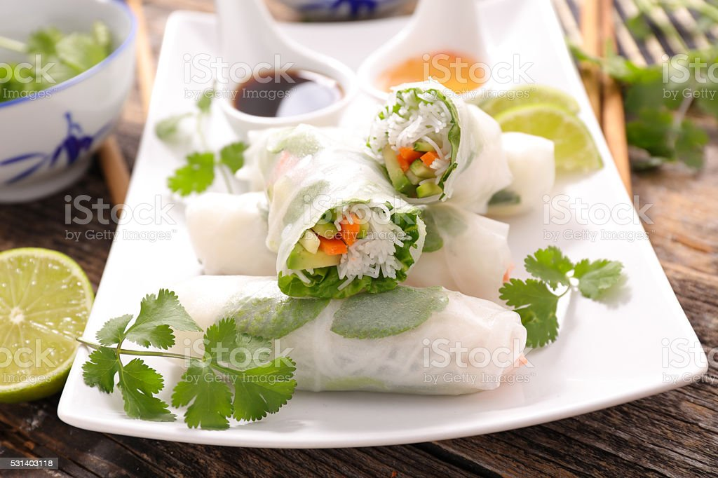 healthy vegetarian spring roll stock photo