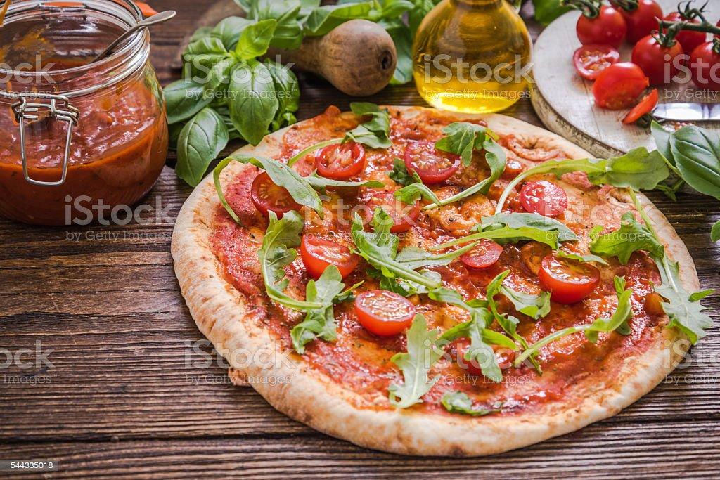 healthy vegeterian pizza stock photo