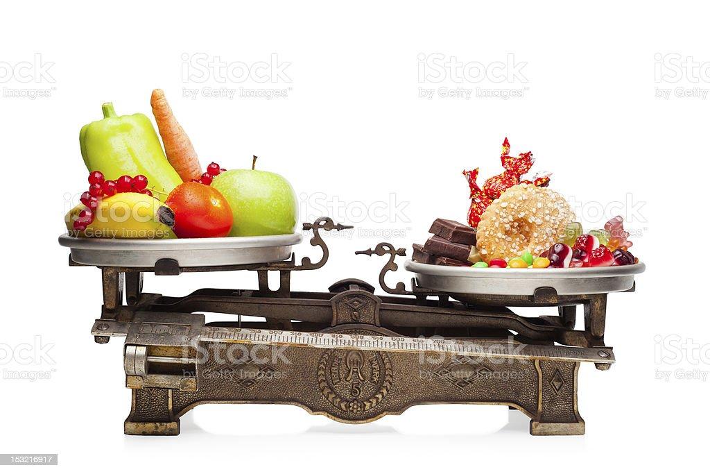 Healthy versus unhealthy. stock photo