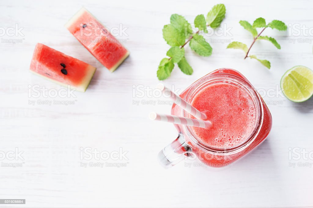 Healthy watermelon drink stock photo