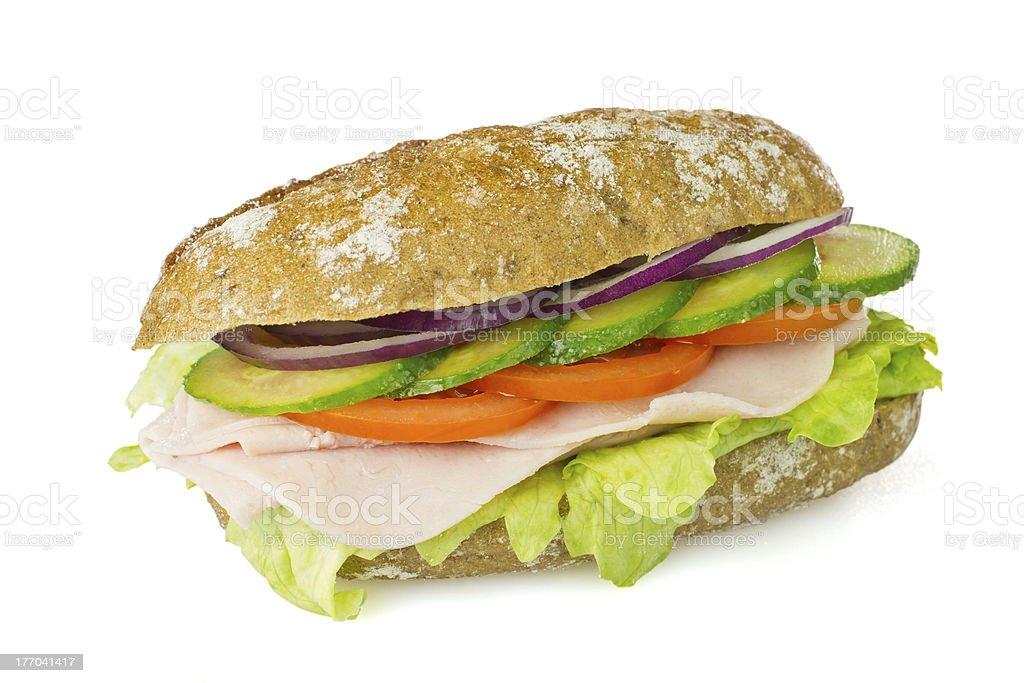 Healthy wholegrain sandwich isolated royalty-free stock photo