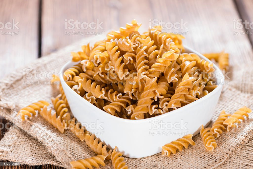 Healthy Wholemeal Fussili stock photo