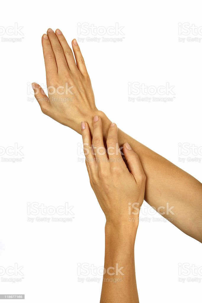 Healthy Woman Applying Lotion to Skin royalty-free stock photo