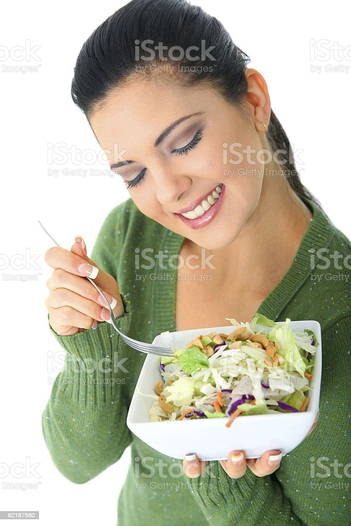Healthy Woman Eating Salad royalty-free stock photo