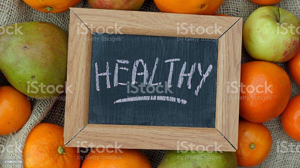 Healthy written stock photo