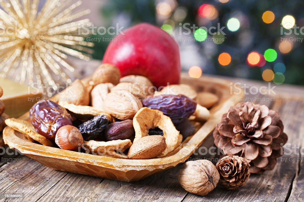 healthy xmas food nuts and dried fruits royalty-free stock photo