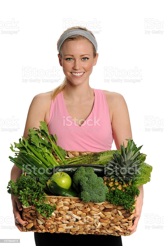 Healthy Young Woman with Green Fruits and Vegetables royalty-free stock photo