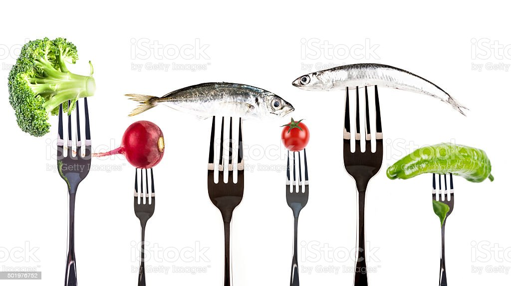 Healty Food on forks stock photo